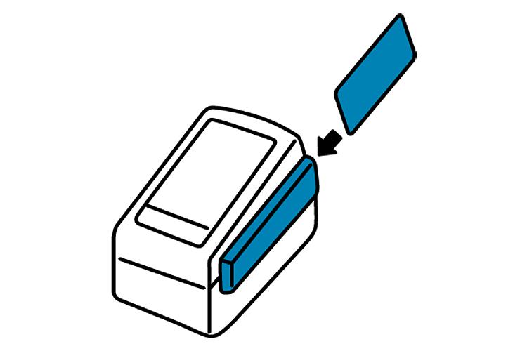 (2)お客様のデビットカードをカードリーダーに通します。