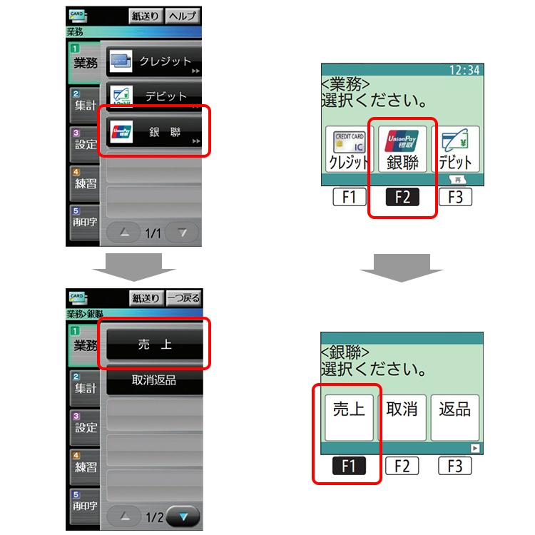 (1)業務画面から、「銀聯」→「売上」を選択します。