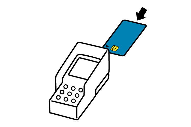 (2)ピンパッドにクレジットカードをセットしてください。 カードの向きは右図をご参照ください。